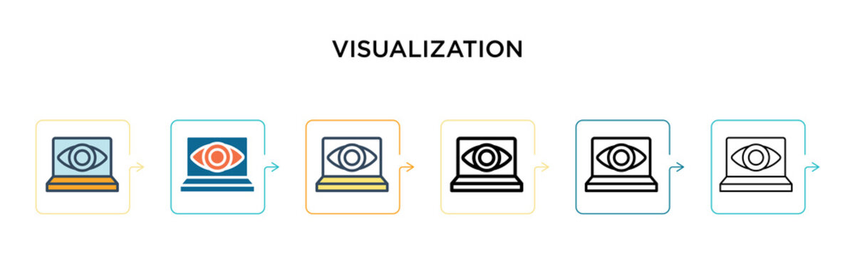 Visualization vector icon in 6 different modern styles. Black, two colored visualization icons designed in filled, outline, line and stroke style. Vector illustration can be used for web, mobile, ui