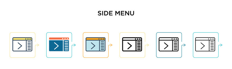 Side menu vector icon in 6 different modern styles. Black, two colored side menu icons designed in filled, outline, line and stroke style. Vector illustration can be used for web, mobile, ui