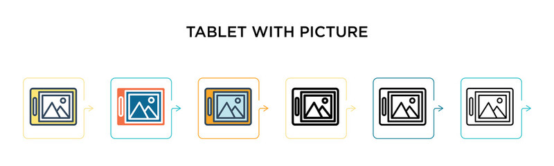 Tablet with picture vector icon in 6 different modern styles. Black, two colored tablet with picture icons designed in filled, outline, line and stroke style. Vector illustration can be used for web,