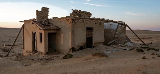 Abandoned buildings are left to rot in Kolmanskoppe, Namibia