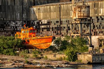 Abandoned boat sitting on land, beside the Bosphorus strait