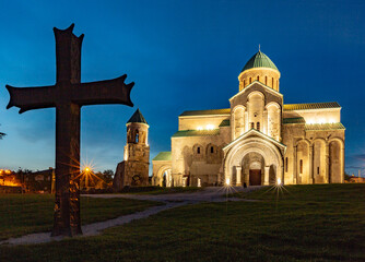 Bagrati Cathedral was built in the 11th century in Kutasi, Georgia during the blue hour