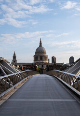 st pauls cathedral london viewed from the end of millenium bridge at sunrise