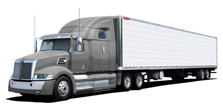 American Western Star truck with gray cab isolated on a white background.