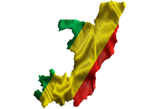 Waving textile flag of Republic of the Congo fills country map. White isolated background, 3d illustration.
