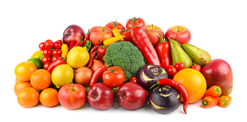 Wall Mural - Delicious and healthy vegetables and fruits isolated on white