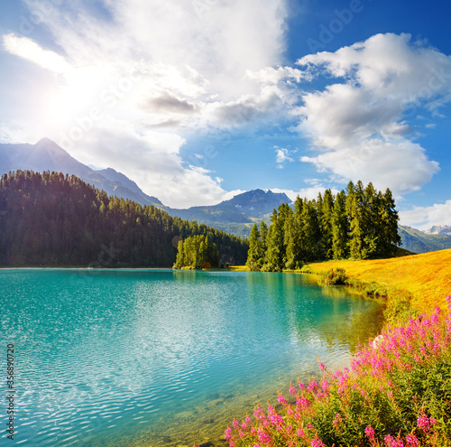 Wall mural Majestic view of the azure pond Champfer. Location place Silvaplana village, Swiss alps,