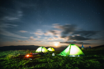 Wall Mural - Scenic image of the night sky above the campsite.