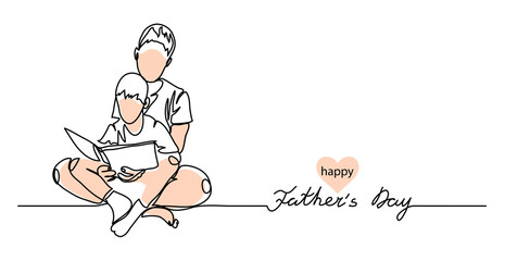 Happy Fathers day vector background, web banner, poster. Man and boy read a book together. One continuous line drawing banner with lettering Fathers day.
