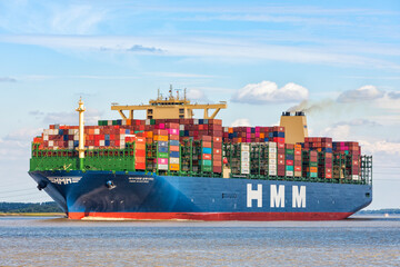 World's largest container ship HMM Algeciras on Elbe river