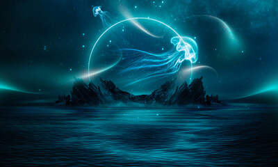 Fotomurales - Night fantasy natural landscape with mountains and ocean. Night sky, stars and silhouettes of neon jellyfish. Dark futuristic landscape in blue neon light.