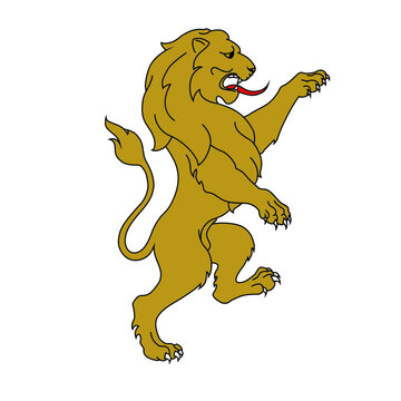 Rampant lion for a coar of arms crest heraldic medieval heraldry or royal family. vintage shield