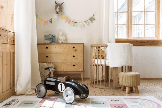 Comfortable kid bedroom in bohemian interior style