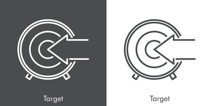 Concepto estrategia de negocios. Icono plano lineal flecha en diana en fondo gris y fondo blanco
