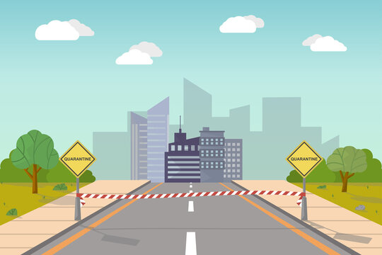 Quarantined city. A cartoon illustration of a road approaching a city that is closed by a protective tape between two pillars that closes the entrance to the city. Vector drawing.