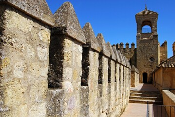 Castle walls at the Palace Fortress of the Christian Kings, Cordoba, Spain.