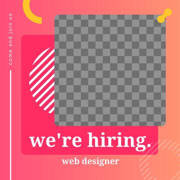 hiring creative social media banner with photo