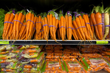 Fresh carrots are shown for sale at a grocery store in Del Mar, California