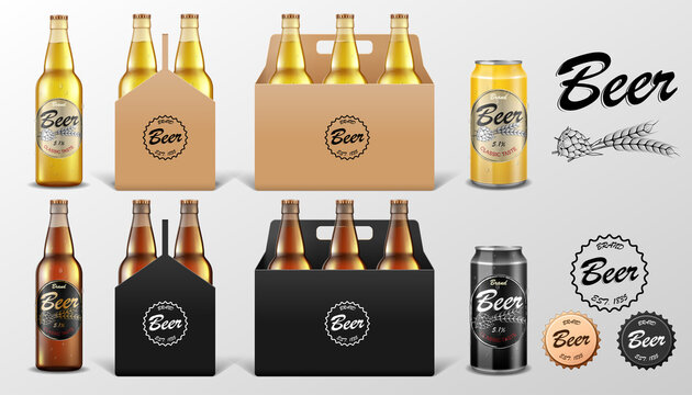 Realistic set of glass Beer bottle and Tin Can in paper packaging box isolated. Beer template Mockup for restaurant or Bar. Vector illustration.