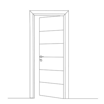 isolated, front door drawing in one continuous line
