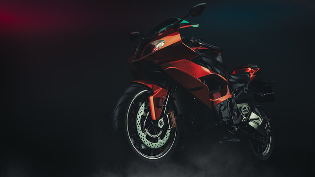 motorcycle in studio. 3d rendering and illustration.