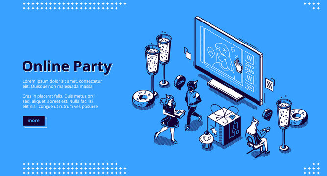 Online party banner. Virtual meeting with friends, celebration birthday by Internet. Vector landing page with isometric happy people, computer screen with call, champagne and cakes