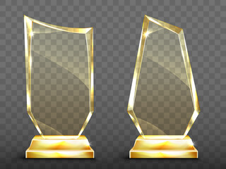 Glass trophy on gold base, transparent crystal winner award. Vector realistic blank clear acrylic prizes to best film, achievement, sport victory or academy success isolated on transparent background