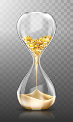 Time is money, hourglass with falling gold coins turn into sand isolated on transparent background. Glass clock, finance success, patience, business capital increasing Realistic 3d vector illustration