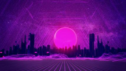 Fototapeten Violett RETRO CITY SKYLINE: Neon glowing sun and starry sky /Synthwave / Retrowave / Vaporwave Background | 3D Illustration
