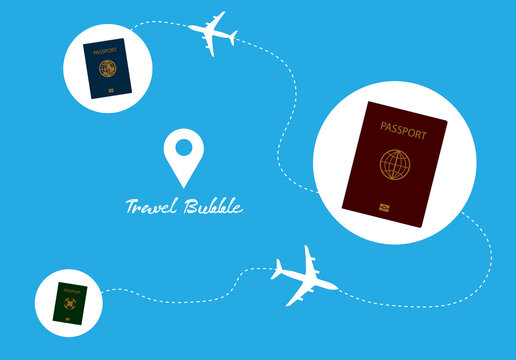 Bubble travel passports in bubble circle and airplane icon background