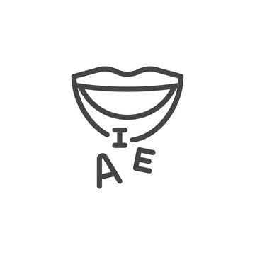 Thin Outline Mouth and Letters Icon. Such Line sign as Articulation, Speech Therapy, Talk or Speak. Vector Computer Custom Isolated Pictograms EPS 10 for Web on White Background Editable Stroke.
