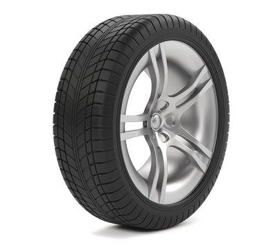 Car wheel isolated on white background