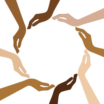 human hands with different skin colors form a circle vector illustration EPS10