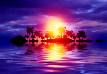 Empty tropical background of night sea beach. Silhouettes of tropical palm trees on a background of bright sunset. 3d illustration