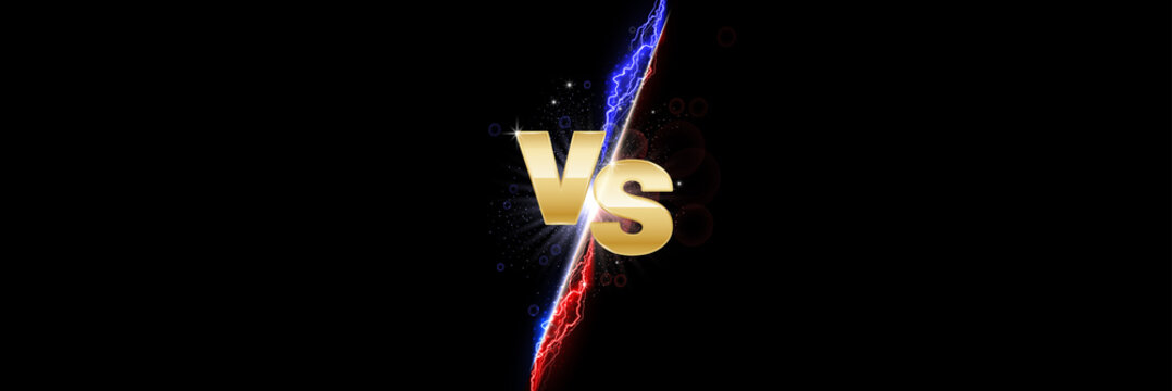 Versus light battle. MMA concept - fight night, MMA, boxing, wrestling, Thai boxing. VS of metal letters with light fire and glow. Versus battle vector.