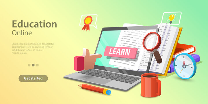 3d Online Education Concept, Landing Page Template for Website, Distance Courses and E-learning, Digital Cloud Library.