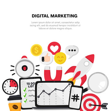 Vector smm elements. Social Media Marketing. Reach and promotion among target audience. Concept is for banner, advertising, mailing list, website, training presentation for marketers, posts, poster