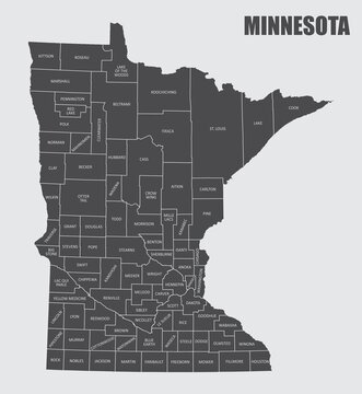 The Minnesota State County Map with labels