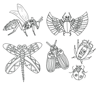 Set of vector illustrations of insects drawn in the steampunk style.Collection of mechanical beetles, bees, dragonflies. Outline drawing. Page of coloring books for children and adults, art therapy.