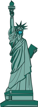 statue of liberty in face mask