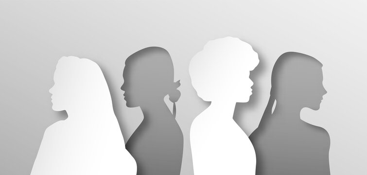 All women people group illustration in layered 3D paper cut style. Female team for women's issues or girl psychology concept. Papercut design of diverse girls standing together from side profile view.