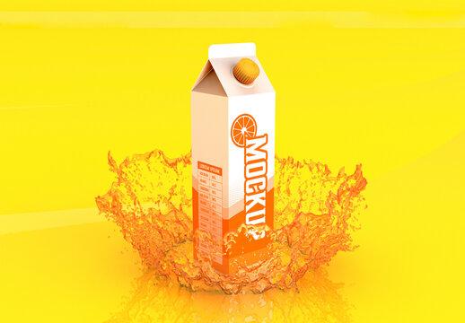 Liter Carton Mockup with Splash