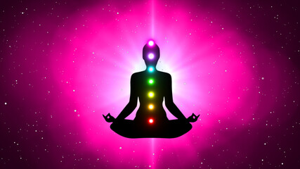 Spoed Foto op Canvas Roze Meditation People Achieve Enlightenment, Activation Of Chakra, Aura In The Body
