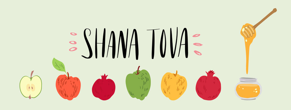 Hand drawn vector illustration for Rosh Hashana Jewish new year holiday. Apples, pomegranate and honey. Brush lettering phrase Shana Tova Happy new year in Hebew