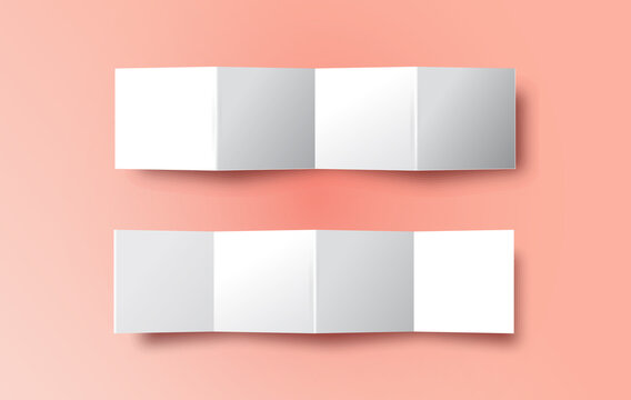Realistic folded paper strip template on pink background. Isolated white brochure mock up set with empty copy space.