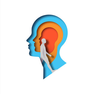 Realistic paper cut layered human head with man walking inside. Colorful papercut man silhouette on isolated background for mental health, imagination or psychology disorder concept.