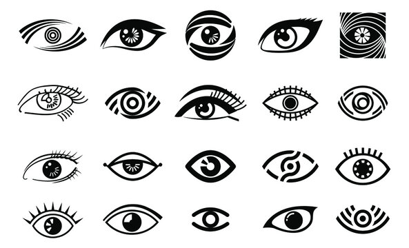 vector eye illustration, logo set, collection of different style eye, vision logotype in black color, black outline eyes, woman eye,isolated on white background, make up, beauty saloon,