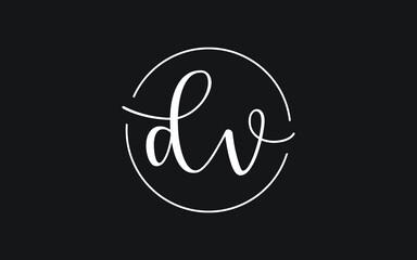 dv or vd Cursive Letter Initial Logo Design, Vector Template