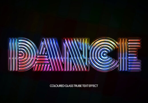 Glass Tubes Eighties Disco Text Effect Mockup