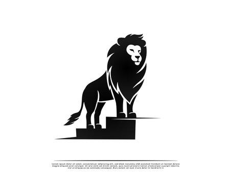 elegance stand lion king in high step logo symbol design illustration